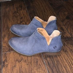 Born blue suede leather booties, Size 8.5